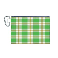 Abstract Green Plaid Canvas Cosmetic Bag (M)