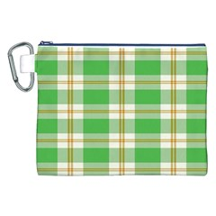 Abstract Green Plaid Canvas Cosmetic Bag (XXL)
