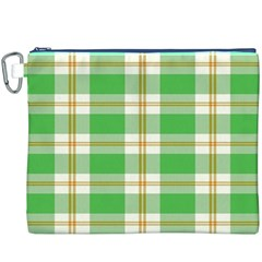 Abstract Green Plaid Canvas Cosmetic Bag (xxxl)