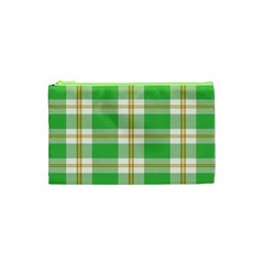 Abstract Green Plaid Cosmetic Bag (XS)