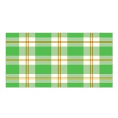 Abstract Green Plaid Satin Shawl