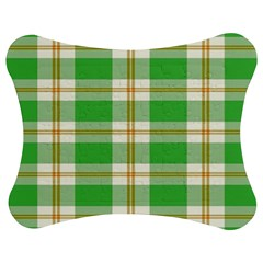 Abstract Green Plaid Jigsaw Puzzle Photo Stand (bow)