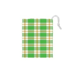Abstract Green Plaid Drawstring Pouches (XS)