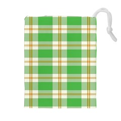 Abstract Green Plaid Drawstring Pouches (extra Large)