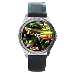 Bright Peppers Round Metal Watch