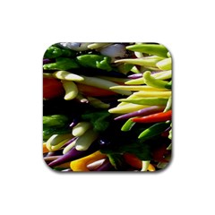 Bright Peppers Rubber Square Coaster (4 Pack)