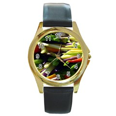 Bright Peppers Round Gold Metal Watch