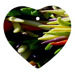 Bright Peppers Heart Ornament (two Sides)