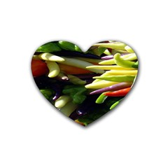 Bright Peppers Rubber Coaster (Heart)