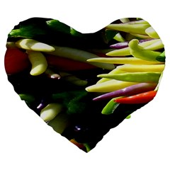 Bright Peppers Large 19  Premium Heart Shape Cushions