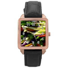 Bright Peppers Rose Gold Leather Watch