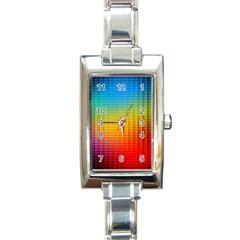 Blurred Color Pixels Rectangle Italian Charm Watch