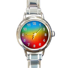 Blurred Color Pixels Round Italian Charm Watch