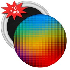 Blurred Color Pixels 3  Magnets (10 pack)