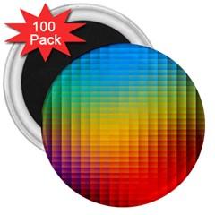 Blurred Color Pixels 3  Magnets (100 Pack)