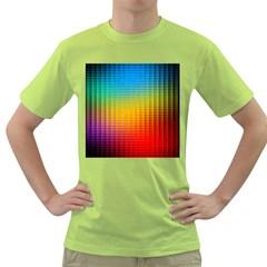 Blurred Color Pixels Green T-Shirt
