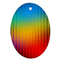 Blurred Color Pixels Oval Ornament (two Sides)