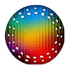 Blurred Color Pixels Round Filigree Ornament (two Sides)