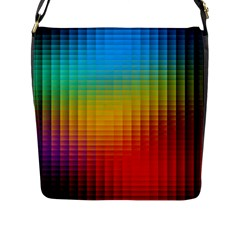 Blurred Color Pixels Flap Messenger Bag (L)