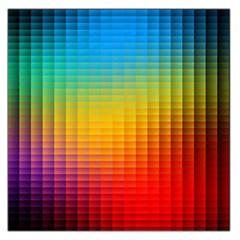 Blurred Color Pixels Large Satin Scarf (Square)