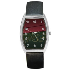 Beautiful Floral Textured Barrel Style Metal Watch