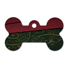 Beautiful Floral Textured Dog Tag Bone (two Sides)