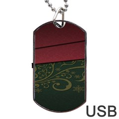 Beautiful Floral Textured Dog Tag USB Flash (One Side)