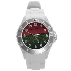 Beautiful Floral Textured Round Plastic Sport Watch (l)