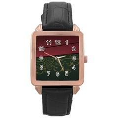Beautiful Floral Textured Rose Gold Leather Watch