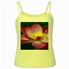 Pink Lotus Flower Yellow Spaghetti Tank