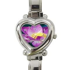 Pink Lotus Flower Heart Italian Charm Watch