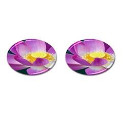 Pink Lotus Flower Cufflinks (oval)
