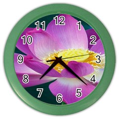 Pink Lotus Flower Color Wall Clocks