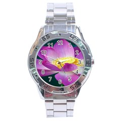 Pink Lotus Flower Stainless Steel Analogue Watch