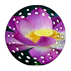 Pink Lotus Flower Round Filigree Ornament (two Sides)