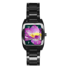 Pink Lotus Flower Stainless Steel Barrel Watch