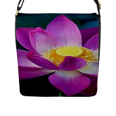 Pink Lotus Flower Flap Messenger Bag (l)