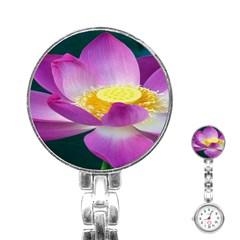 Pink Lotus Flower Stainless Steel Nurses Watch