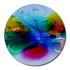 Abstract Color Plants Round Mousepads
