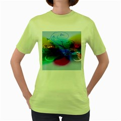 Abstract Color Plants Women s Green T Shirt