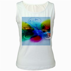 Abstract Color Plants Women s White Tank Top