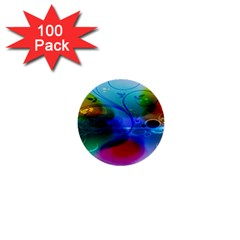 Abstract Color Plants 1  Mini Buttons (100 Pack)