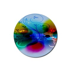 Abstract Color Plants Rubber Coaster (round)