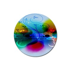 Abstract Color Plants Magnet 3  (Round)