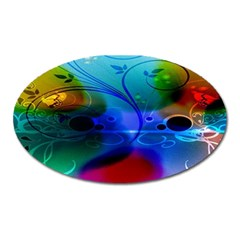 Abstract Color Plants Oval Magnet