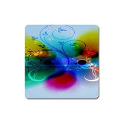 Abstract Color Plants Square Magnet