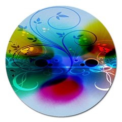 Abstract Color Plants Magnet 5  (Round)