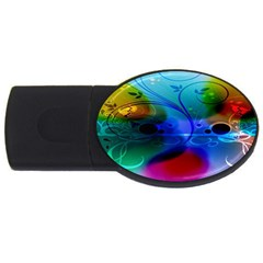 Abstract Color Plants USB Flash Drive Oval (1 GB)