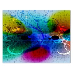 Abstract Color Plants Rectangular Jigsaw Puzzl
