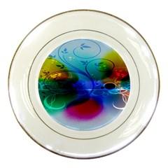 Abstract Color Plants Porcelain Plates